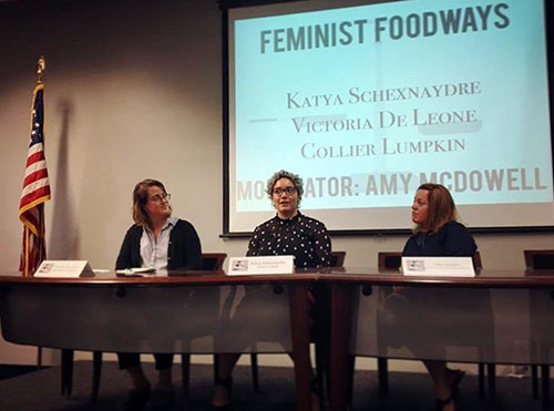 "MA Food Studies candidate Collier Lumpkin took part as a presenter on the panel discussion ""Feminist Foodways"" at the Southern Foodways Alliance conference held at the University of Mississippi"